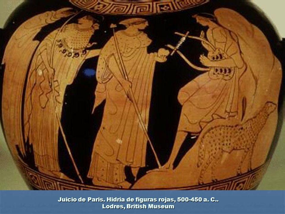 Juicio de Paris. Hidria de figuras rojas, 500-450 a. C.. Lodres, British Museum