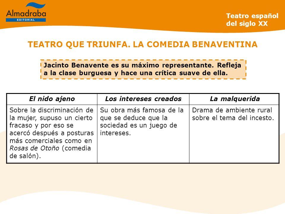 TEATRO QUE TRIUNFA. LA COMEDIA BENAVENTINA Teatro español del siglo XX Jacinto Benavente es su máximo representante. Refleja a la clase burguesa y hac