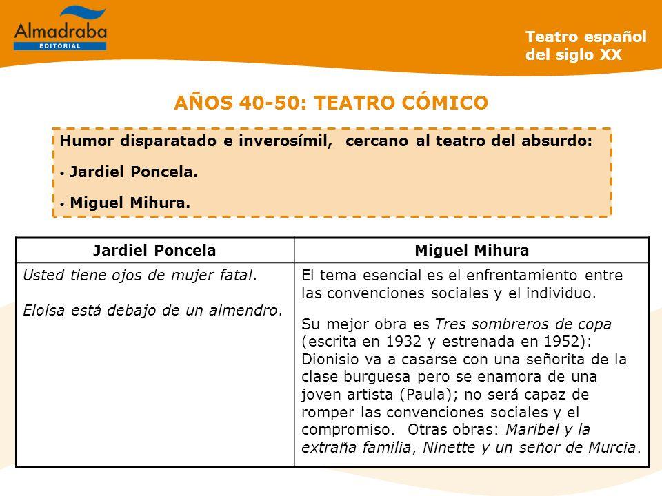 AÑOS 40-50: TEATRO CÓMICO Teatro español del siglo XX Humor disparatado e inverosímil, cercano al teatro del absurdo: Jardiel Poncela. Miguel Mihura.