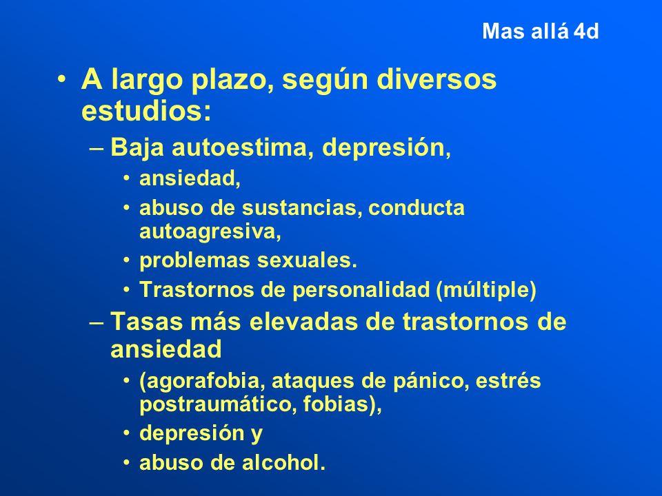 Mas allá 4d A largo plazo, según diversos estudios: –Baja autoestima, depresión, ansiedad, abuso de sustancias, conducta autoagresiva, problemas sexuales.
