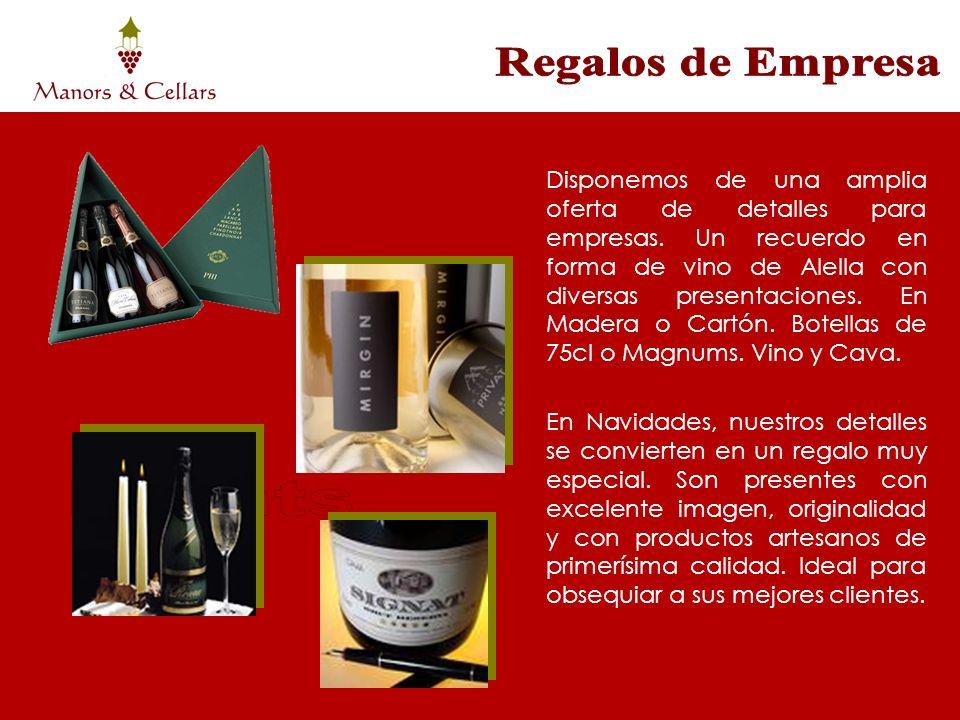 Disponemos de una amplia oferta de detalles para empresas. Un recuerdo en forma de vino de Alella con diversas presentaciones. En Madera o Cartón. Bot