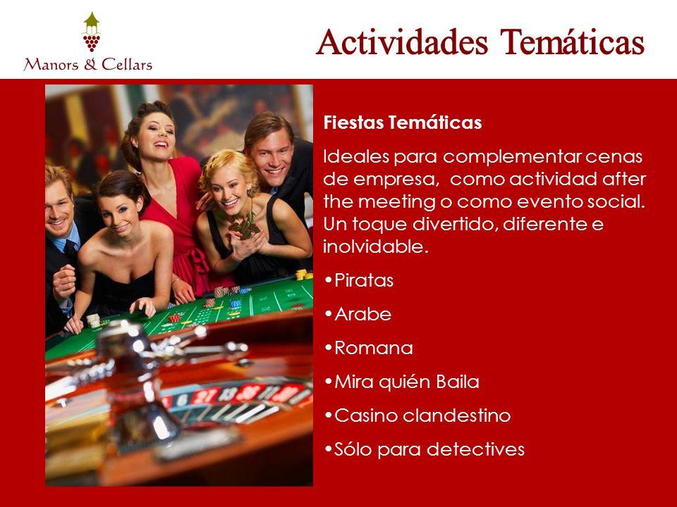 Fiestas Temáticas Ideales para complementar cenas de empresa, como actividad after the meeting o como evento social. Un toque divertido, diferente e i