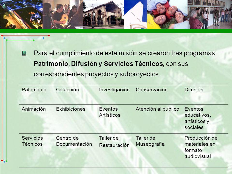 Para el cumplimiento de esta misión se crearon tres programas: Patrimonio, Difusión y Servicios Técnicos, con sus correspondientes proyectos y subproy