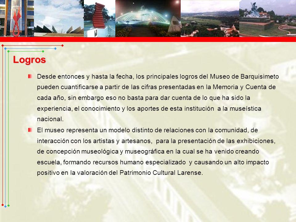 Desde entonces y hasta la fecha, los principales logros del Museo de Barquisimeto pueden cuantificarse a partir de las cifras presentadas en la Memori