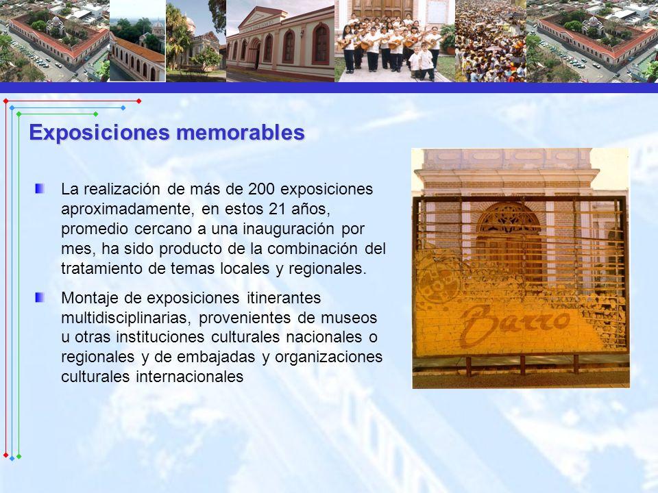 La realización de más de 200 exposiciones aproximadamente, en estos 21 años, promedio cercano a una inauguración por mes, ha sido producto de la combi