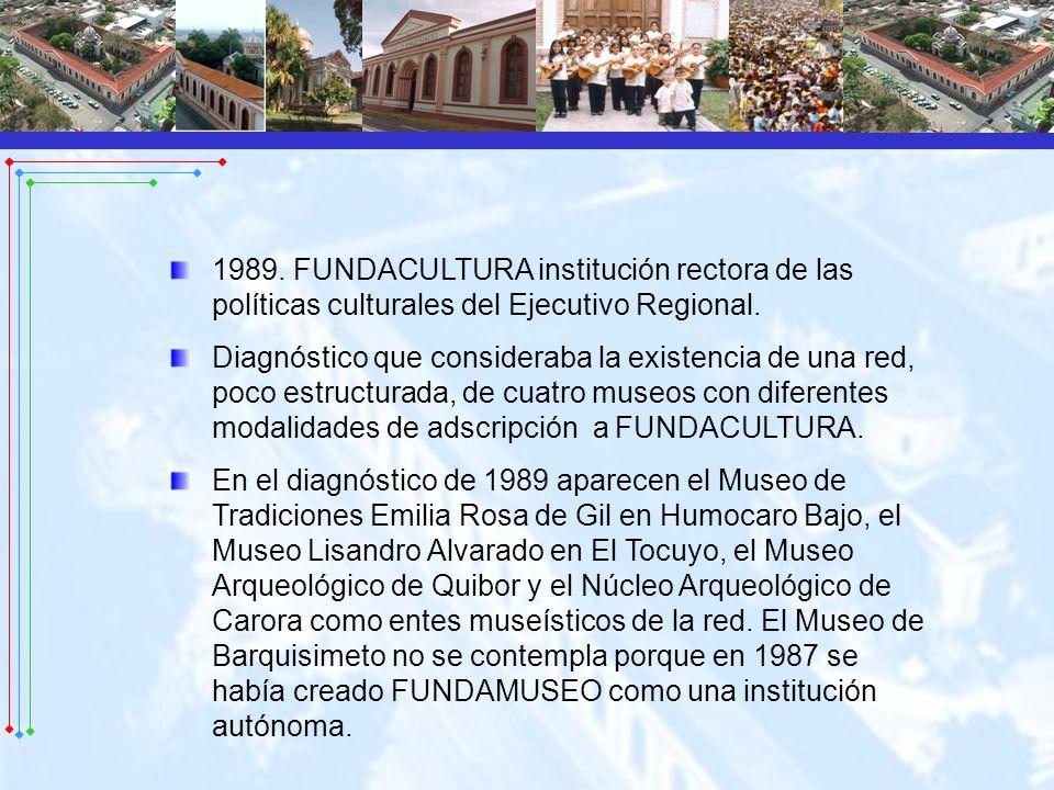 1989. FUNDACULTURA institución rectora de las políticas culturales del Ejecutivo Regional. Diagnóstico que consideraba la existencia de una red, poco