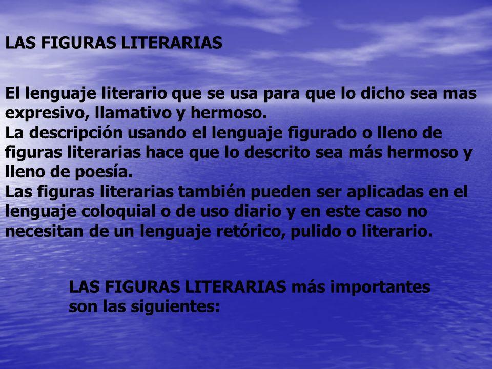 El lenguaje literario que se usa para que lo dicho sea mas expresivo, llamativo y hermoso. La descripción usando el lenguaje figurado o lleno de figur