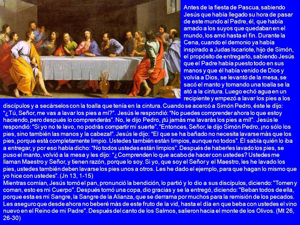 discípulos y a secárselos con la toalla que tenía en la cintura. Cuando se acercó a Simón Pedro, éste le dijo: ¿Tú, Señor, me vas a lavar los pies a m