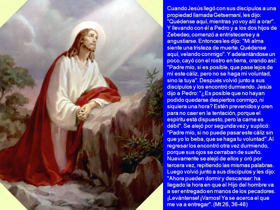 Cuando Jesús llegó con sus discípulos a una propiedad llamada Getsemaní, les dijo: