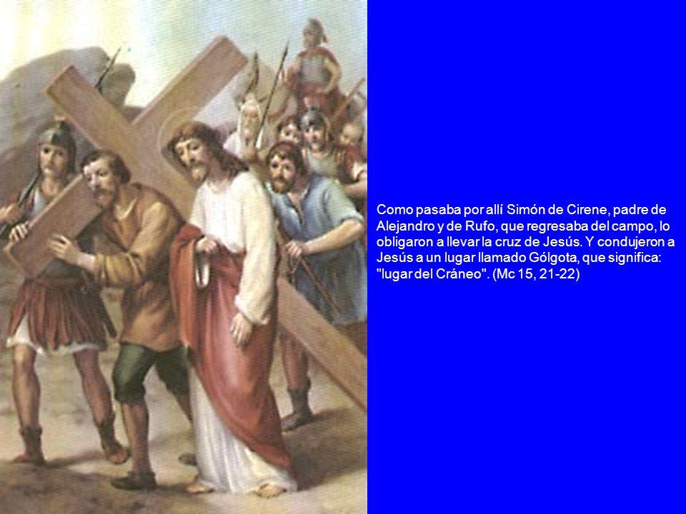 Como pasaba por allí Simón de Cirene, padre de Alejandro y de Rufo, que regresaba del campo, lo obligaron a llevar la cruz de Jesús. Y condujeron a Je