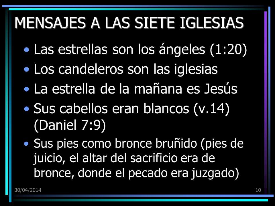 30/04/201410 MENSAJES A LAS SIETE IGLESIAS Las estrellas son los ángeles (1:20) Los candeleros son las iglesias La estrella de la mañana es Jesús Sus