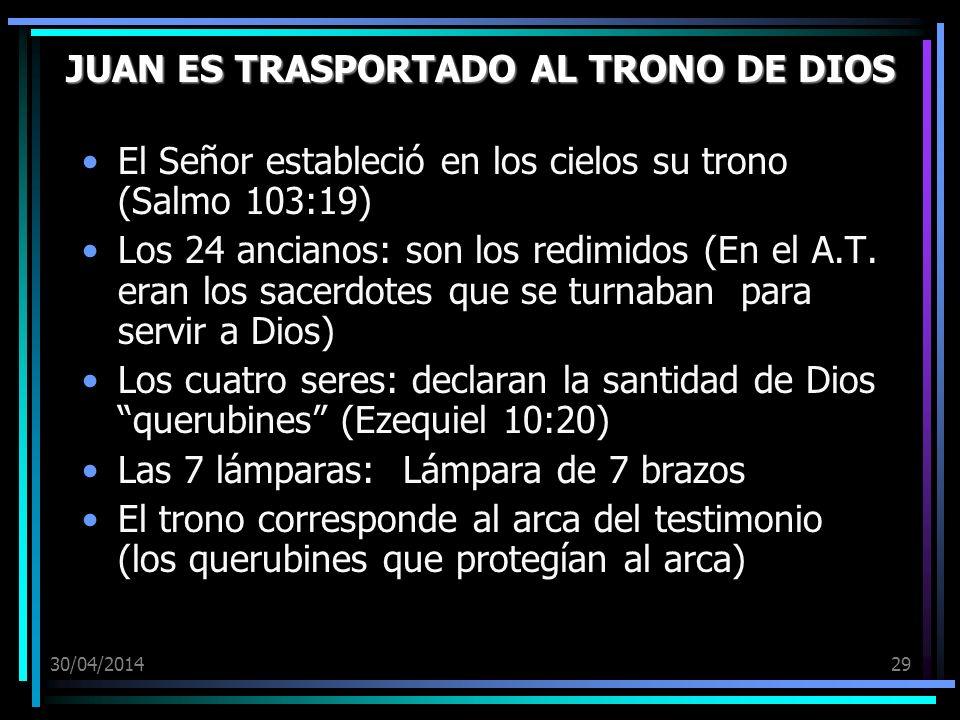 30/04/201429 JUAN ES TRASPORTADO AL TRONO DE DIOS El Señor estableció en los cielos su trono (Salmo 103:19) Los 24 ancianos: son los redimidos (En el A.T.