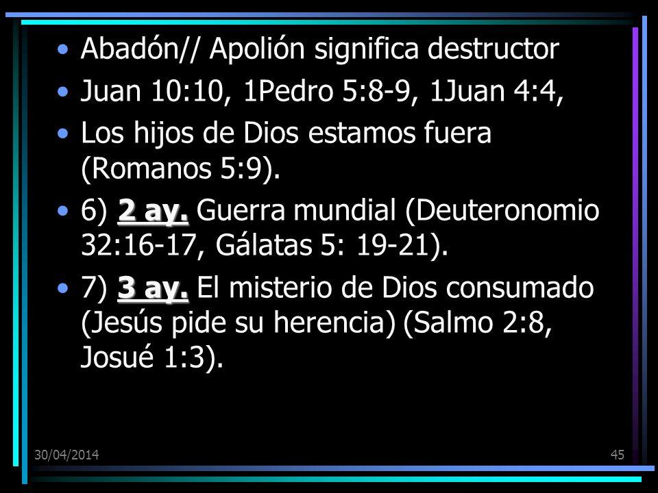 30/04/201445 Abadón// Apolión significa destructor Juan 10:10, 1Pedro 5:8-9, 1Juan 4:4, Los hijos de Dios estamos fuera (Romanos 5:9). 2 ay.6) 2 ay. G