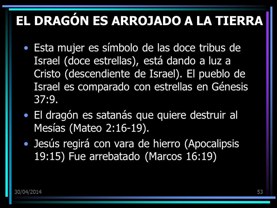 30/04/201453 EL DRAGÓN ES ARROJADO A LA TIERRA Esta mujer es símbolo de las doce tribus de Israel (doce estrellas), está dando a luz a Cristo (descendiente de Israel).