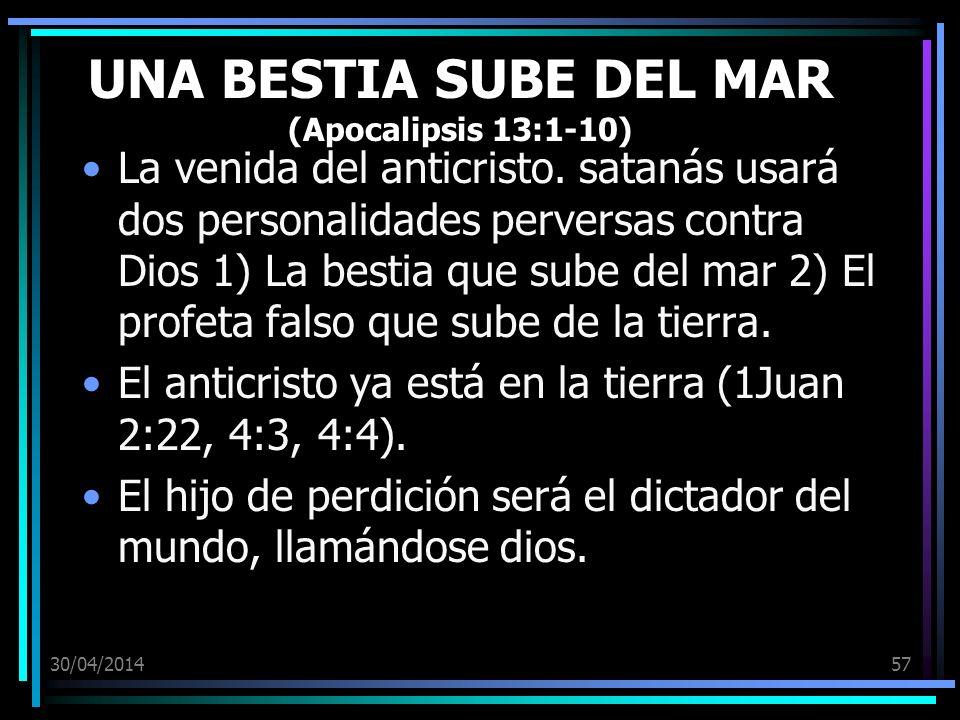 30/04/201457 UNA BESTIA SUBE DEL MAR (Apocalipsis 13:1-10) La venida del anticristo. satanás usará dos personalidades perversas contra Dios 1) La best