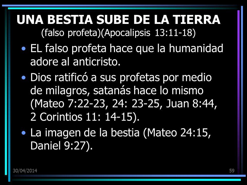 30/04/201459 UNA BESTIA SUBE DE LA TIERRA (falso profeta)(Apocalipsis 13:11-18) EL falso profeta hace que la humanidad adore al anticristo. Dios ratif