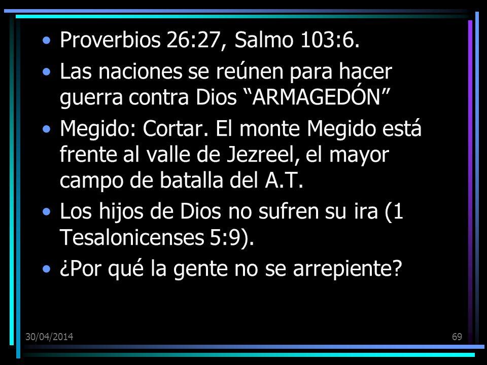 30/04/201469 Proverbios 26:27, Salmo 103:6. Las naciones se reúnen para hacer guerra contra Dios ARMAGEDÓN Megido: Cortar. El monte Megido está frente
