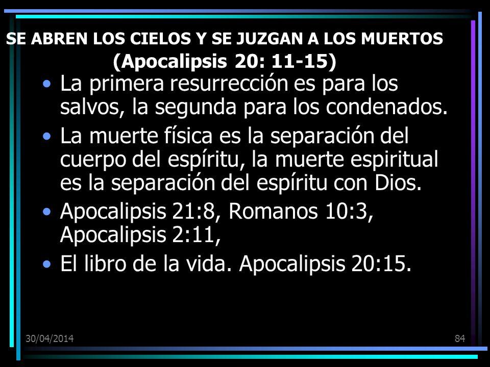 30/04/201484 SE ABREN LOS CIELOS Y SE JUZGAN A LOS MUERTOS (Apocalipsis 20: 11-15) La primera resurrección es para los salvos, la segunda para los condenados.