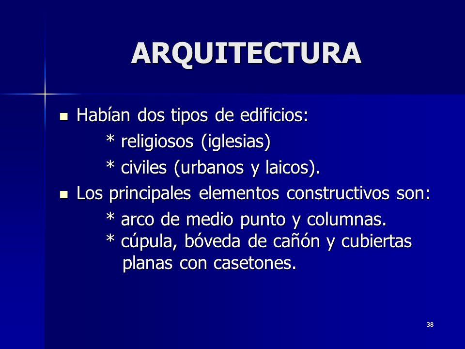 38 ARQUITECTURA Habían dos tipos de edificios: Habían dos tipos de edificios: * religiosos (iglesias) * civiles (urbanos y laicos). Los principales el