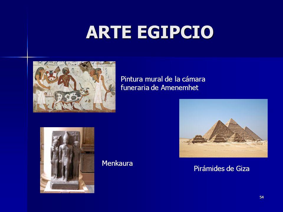 54 ARTE EGIPCIO Pintura mural de la cámara funeraria de Amenemhet Pirámides de Giza Menkaura