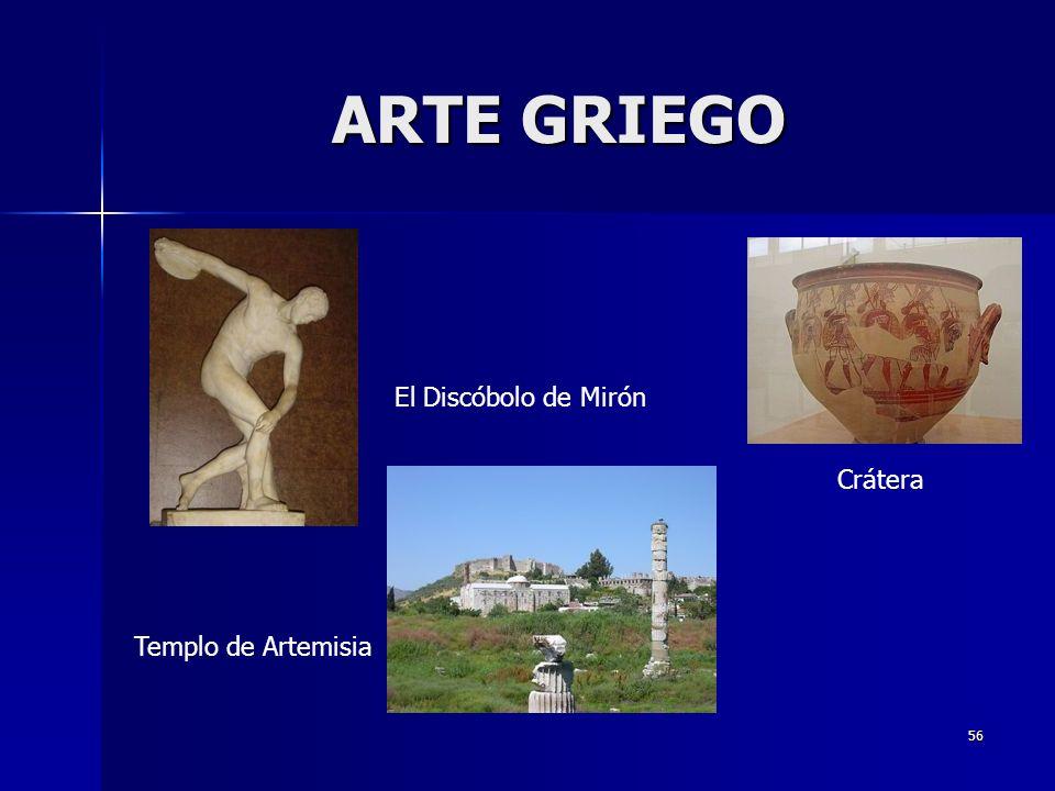 56 ARTE GRIEGO El Discóbolo de Mirón Templo de Artemisia Crátera