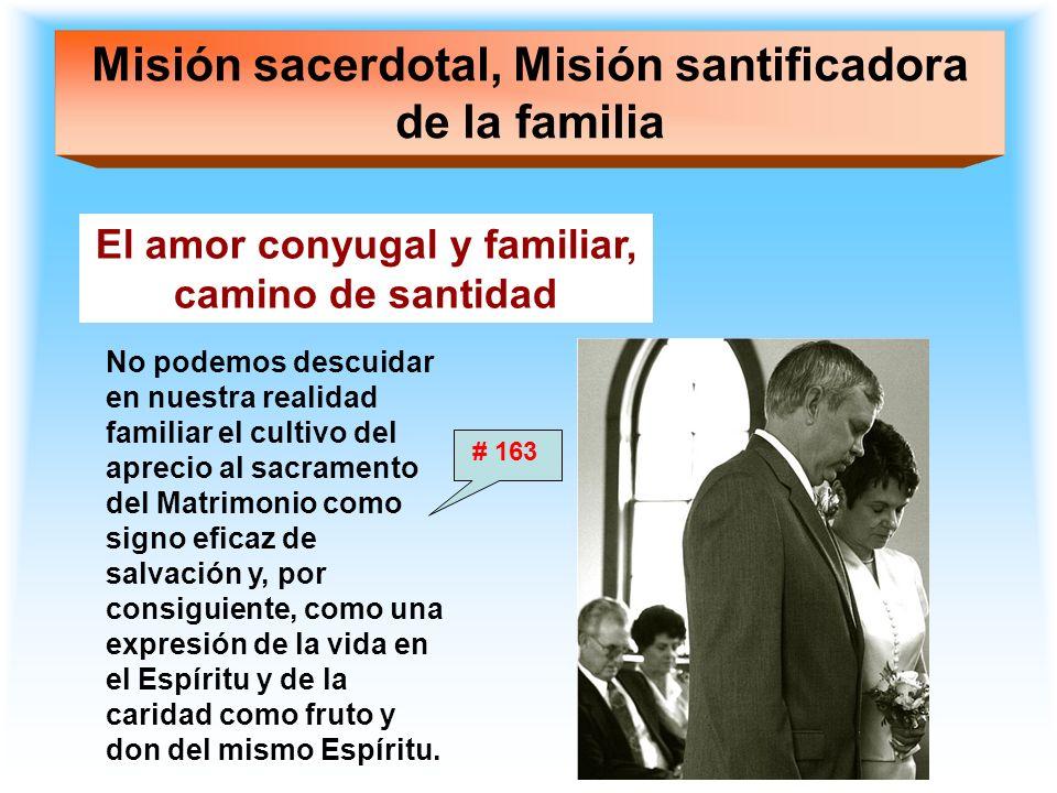 Misión sacerdotal, Misión santificadora de la familia El amor conyugal y familiar, camino de santidad No podemos descuidar en nuestra realidad familia