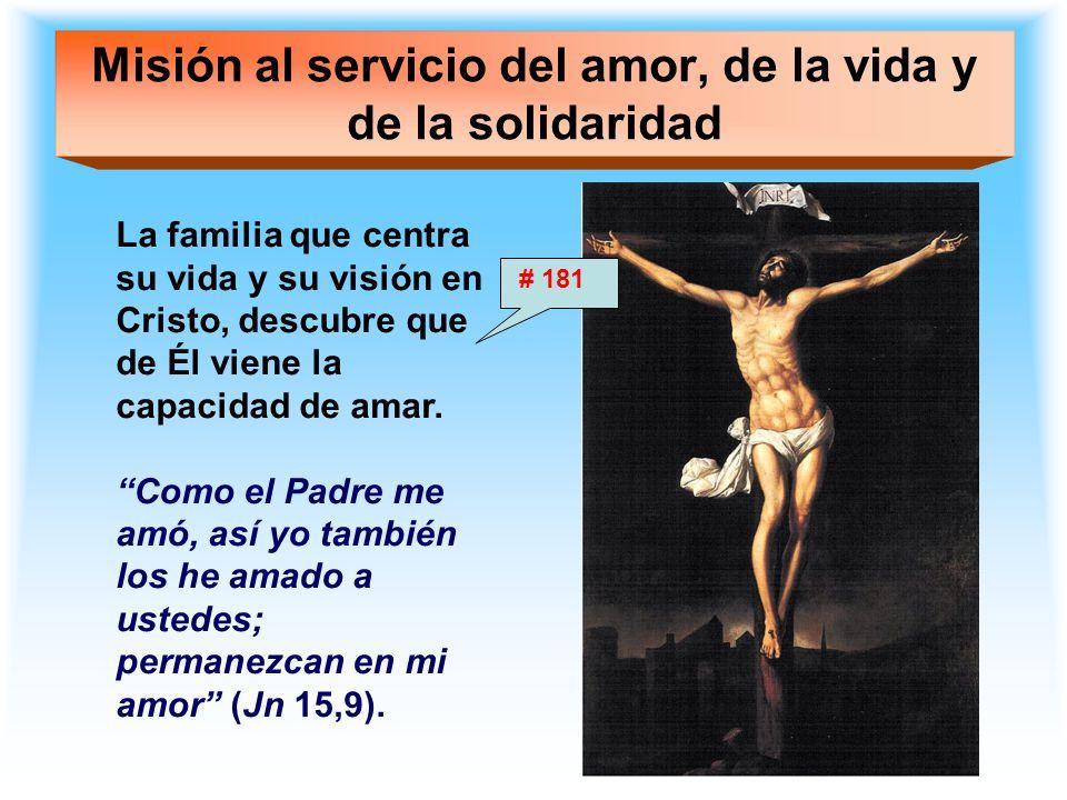 Misión al servicio del amor, de la vida y de la solidaridad La familia que centra su vida y su visión en Cristo, descubre que de Él viene la capacidad