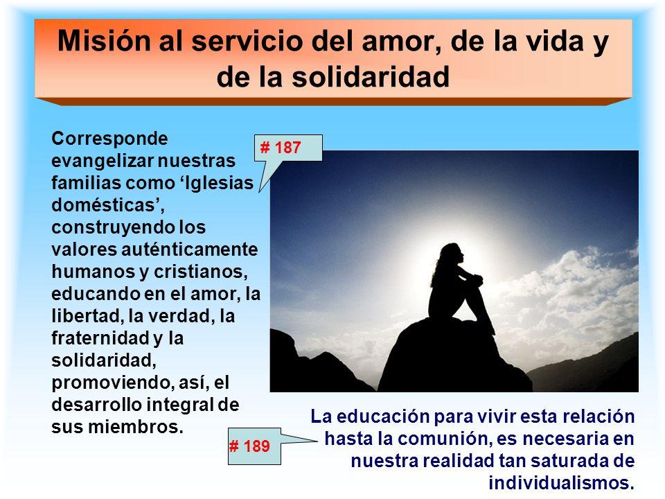Misión al servicio del amor, de la vida y de la solidaridad Corresponde evangelizar nuestras familias como Iglesias domésticas, construyendo los valor