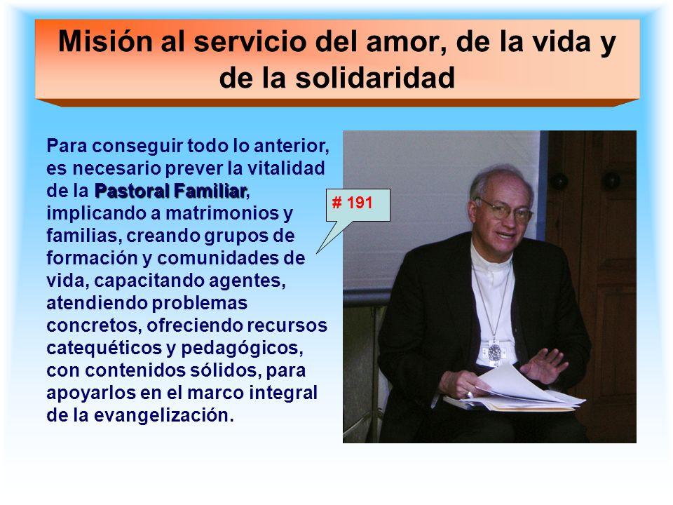 Misión al servicio del amor, de la vida y de la solidaridad Pastoral Familiar Para conseguir todo lo anterior, es necesario prever la vitalidad de la