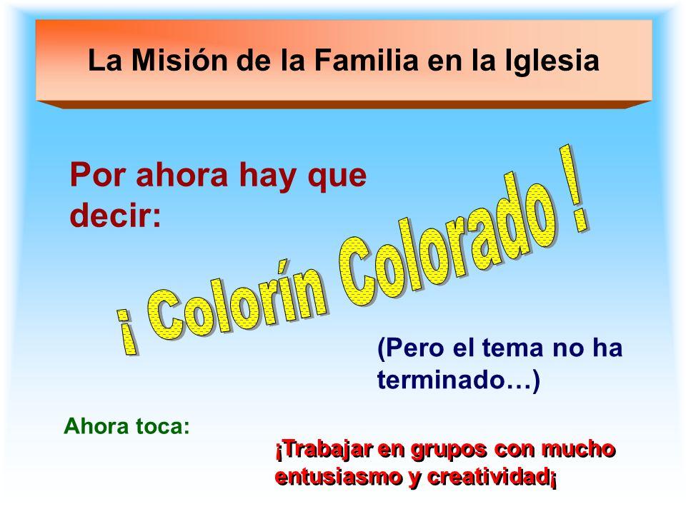 La Misión de la Familia en la Iglesia Por ahora hay que decir: (Pero el tema no ha terminado…) ¡Trabajar en grupos con mucho entusiasmo y creatividad¡