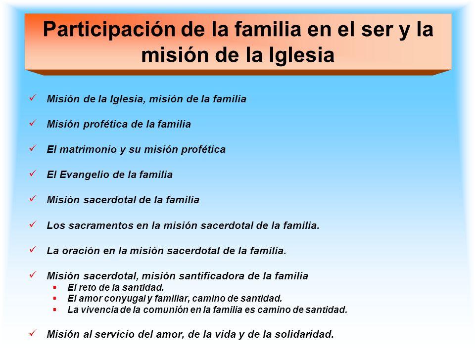 Participación de la familia en el ser y la misión de la Iglesia Misión de la Iglesia, misión de la familia Misión profética de la familia El matrimoni