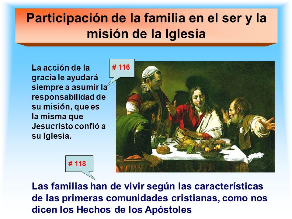 Participación de la familia en el ser y la misión de la Iglesia La acción de la gracia le ayudará siempre a asumir la responsabilidad de su misión, qu