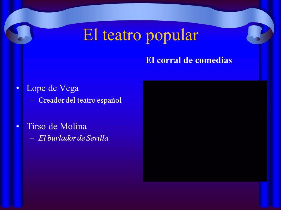 El teatro popular Lope de Vega –Creador del teatro español Tirso de Molina –El burlador de Sevilla El corral de comedias