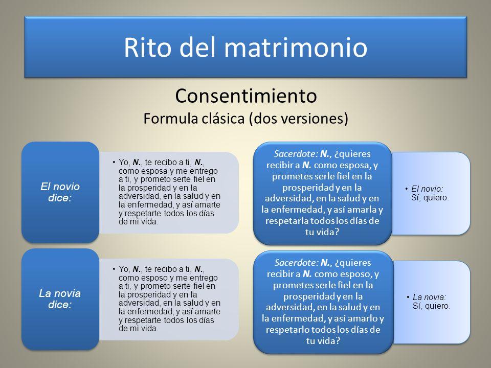 Consentimiento Otras fórmulas El novio: N., ¿quieres ser mi mujer.