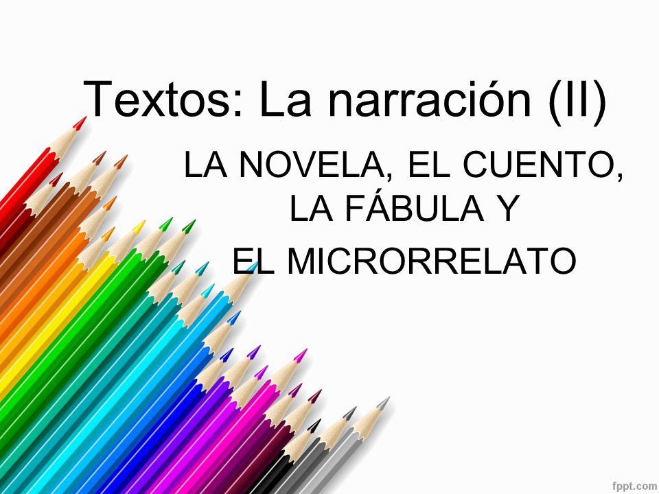 Textos: La narración (II) LA NOVELA, EL CUENTO, LA FÁBULA Y EL MICRORRELATO