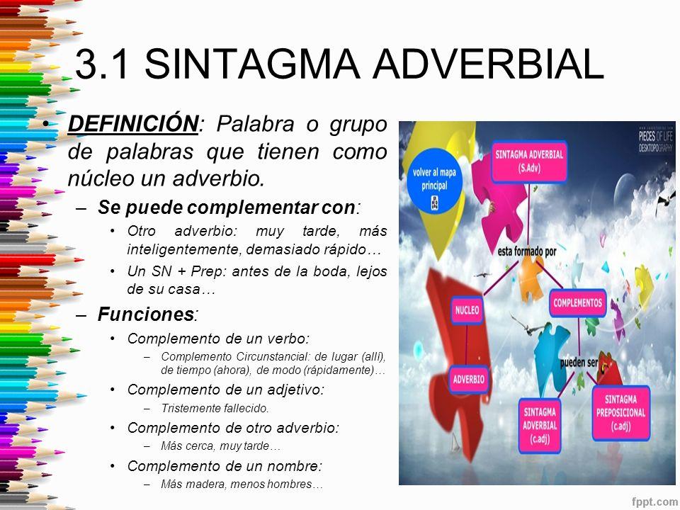 3.1 SINTAGMA ADVERBIAL DEFINICIÓN: Palabra o grupo de palabras que tienen como núcleo un adverbio.