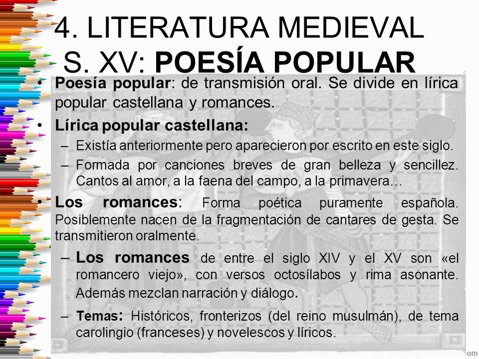 4.LITERATURA MEDIEVAL S. XV: POESÍA POPULAR Poesía popular: de transmisión oral.