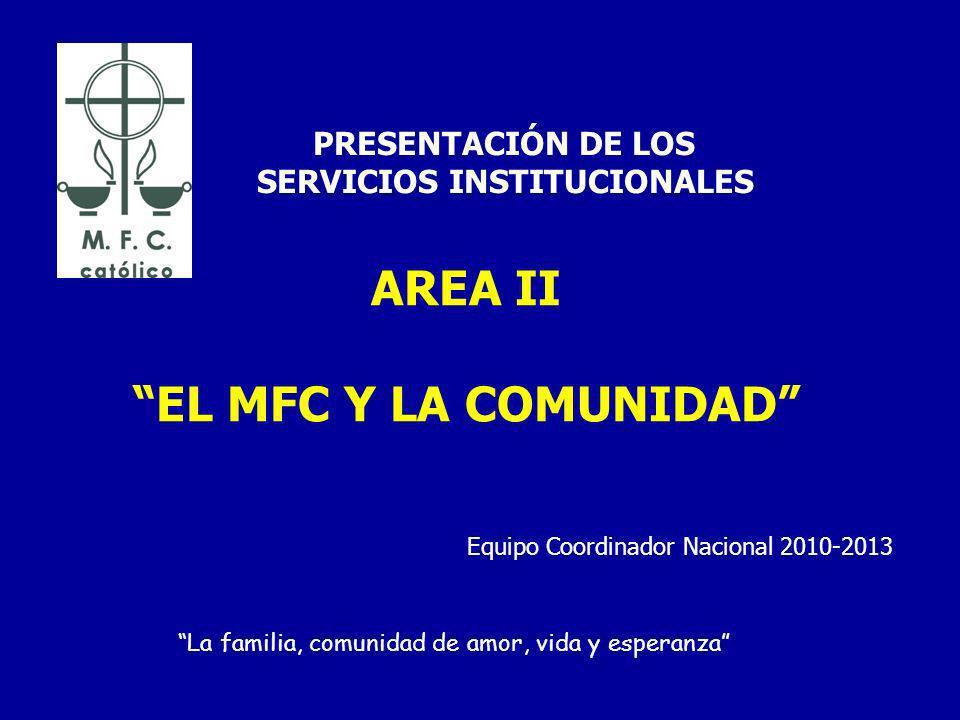 AREA II EL MFC Y LA COMUNIDAD PRESENTACIÓN DE LOS SERVICIOS INSTITUCIONALES La familia, comunidad de amor, vida y esperanza Equipo Coordinador Nacional 2010-2013