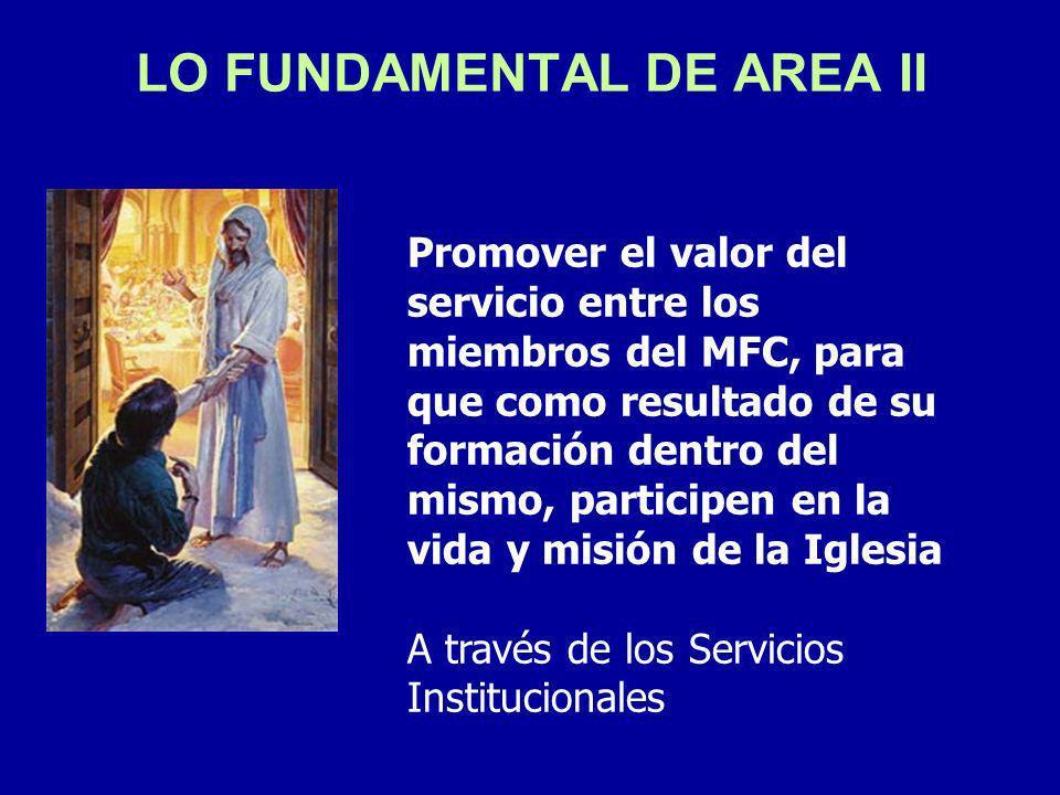 LO FUNDAMENTAL DE AREA II Promover el valor del servicio entre los miembros del MFC, para que como resultado de su formación dentro del mismo, participen en la vida y misión de la Iglesia A través de los Servicios Institucionales