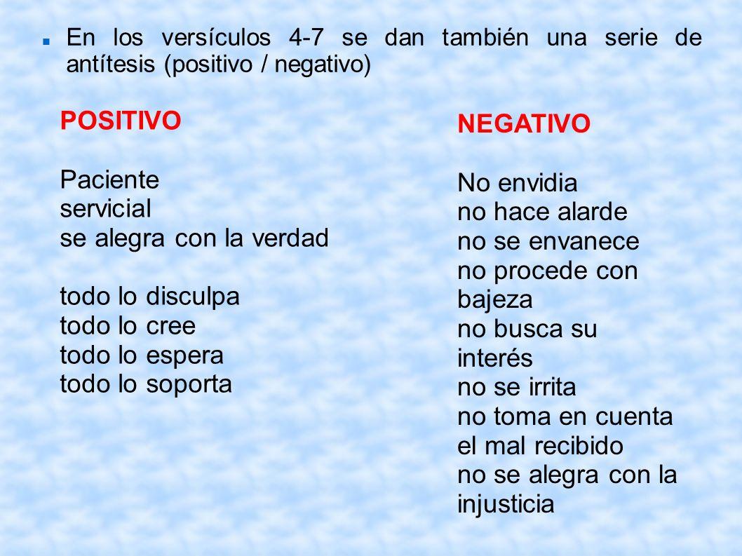 En los versículos 4-7 se dan también una serie de antítesis (positivo / negativo) POSITIVO Paciente servicial se alegra con la verdad todo lo disculpa