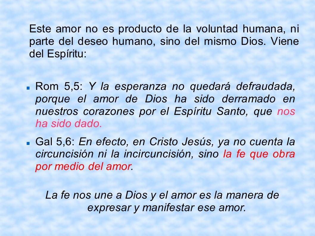 Este amor no es producto de la voluntad humana, ni parte del deseo humano, sino del mismo Dios. Viene del Espíritu: Rom 5,5: Y la esperanza no quedará