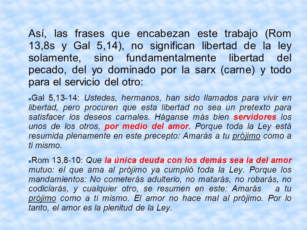 Así, las frases que encabezan este trabajo (Rom 13,8s y Gal 5,14), no significan libertad de la ley solamente, sino fundamentalmente libertad del peca