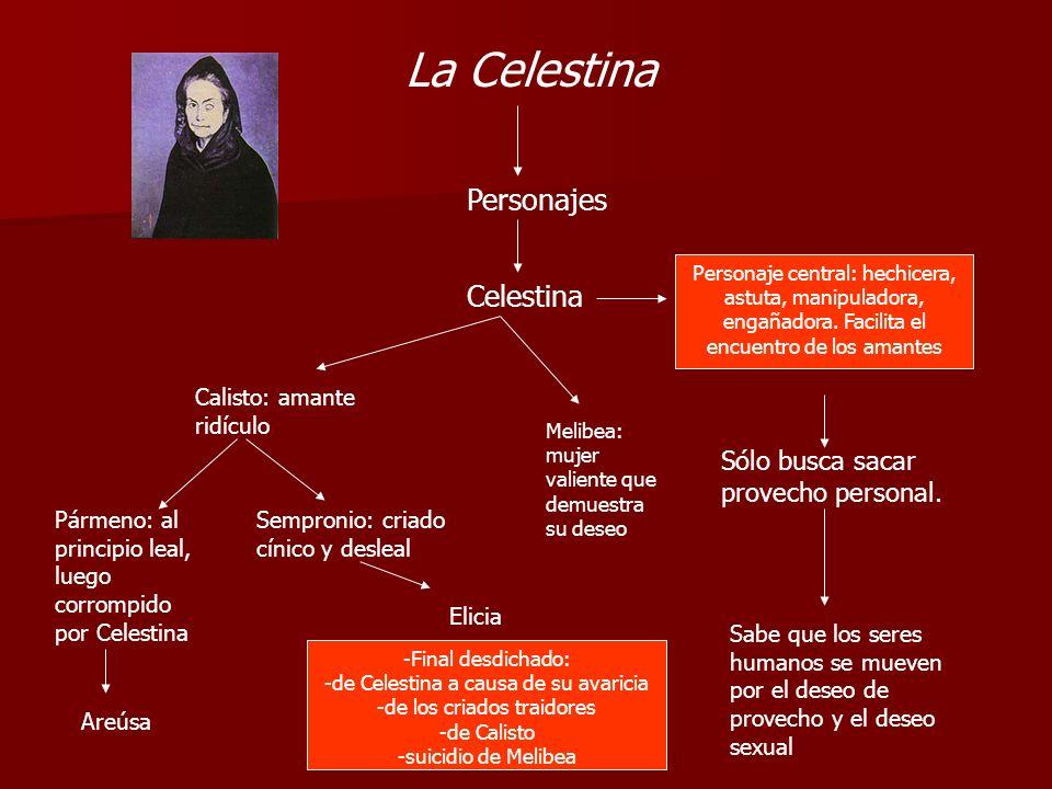 La Celestina Personajes Celestina Personaje central: hechicera, astuta, manipuladora, engañadora. Facilita el encuentro de los amantes Sólo busca saca