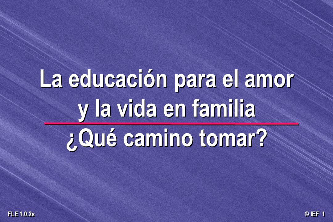 © IEF 1 FLE 1.0.2s La educación para el amor y la vida en familia ¿Qué camino tomar?