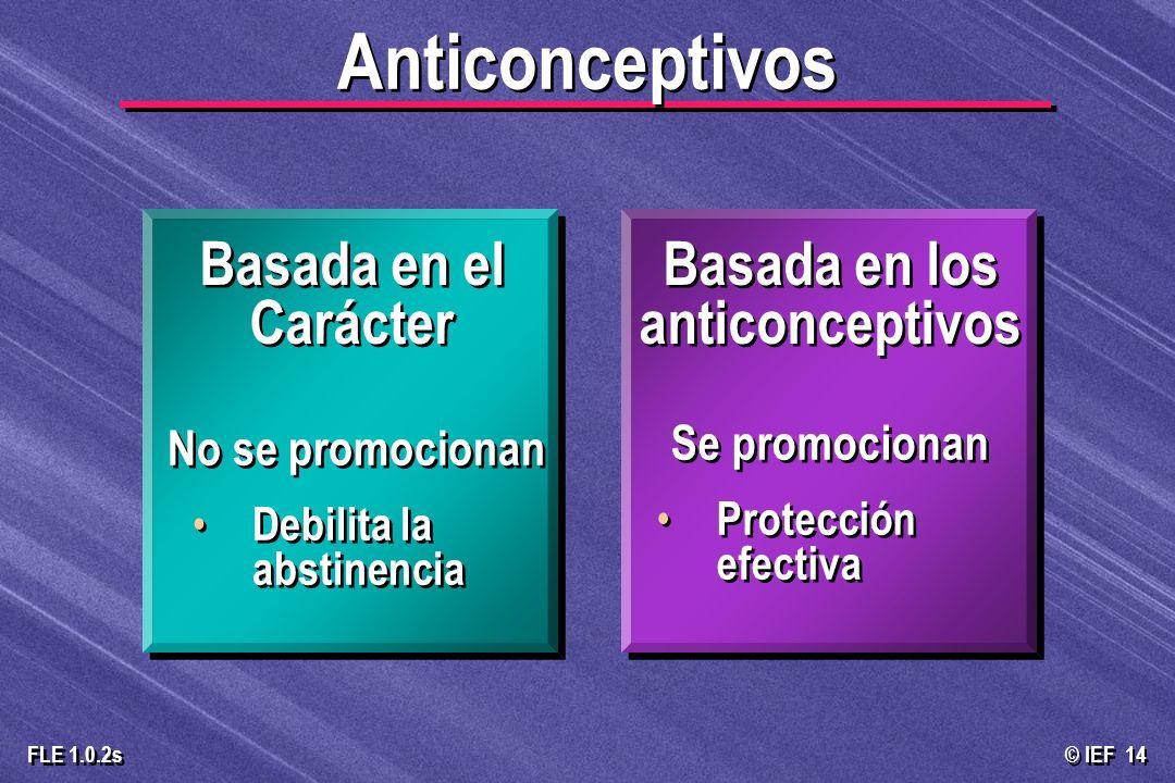 © IEF 14 FLE 1.0.2s Se promocionan Protección efectiva Se promocionan Protección efectiva No se promocionan Debilita la abstinencia No se promocionan