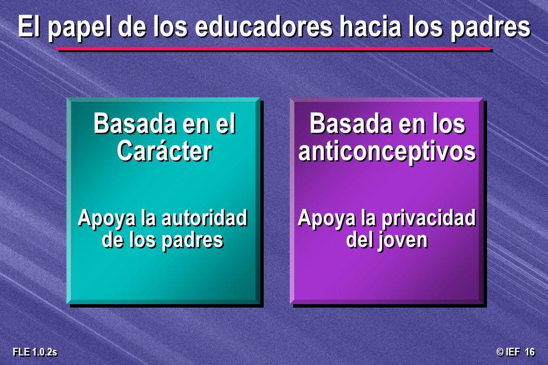 © IEF 16 FLE 1.0.2s El papel de los educadores hacia los padres Apoya la privacidad del joven Apoya la autoridad de los padres Basada en el Carácter B