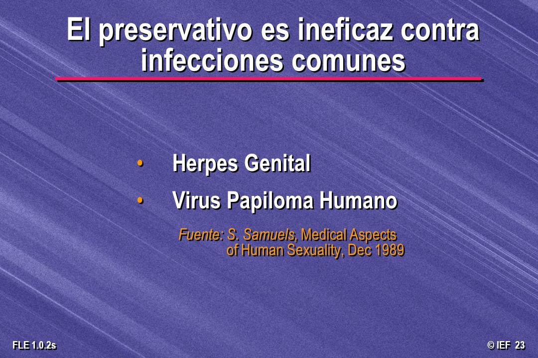 © IEF 23 FLE 1.0.2s El preservativo es ineficaz contra infecciones comunes Herpes Genital Virus Papiloma Humano Fuente: S. Samuels, Medical Aspects of