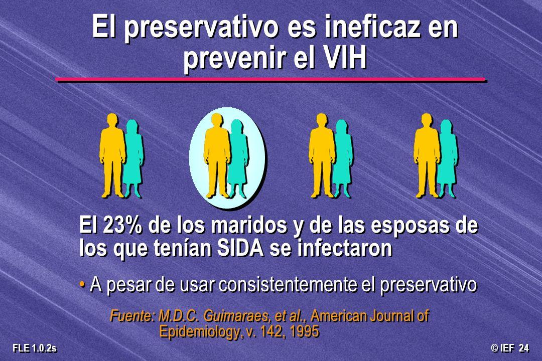 © IEF 24 FLE 1.0.2s El 23% de los maridos y de las esposas de los que tenían SIDA se infectaron A pesar de usar consistentemente el preservativo Fuent