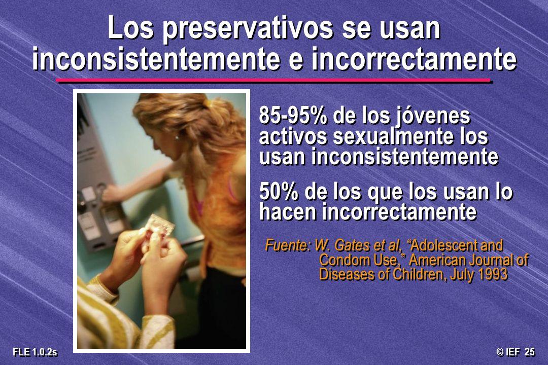 © IEF 25 FLE 1.0.2s Los preservativos se usan inconsistentemente e incorrectamente 85-95% de los jóvenes activos sexualmente los usan inconsistentemen