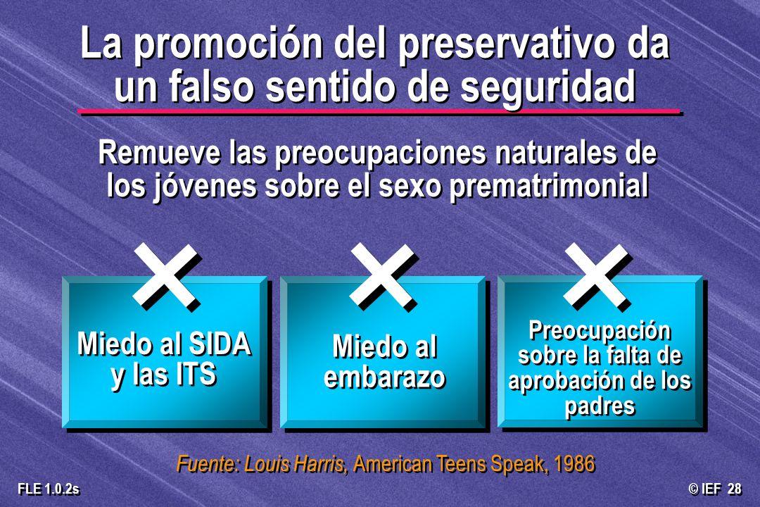© IEF 28 FLE 1.0.2s La promoción del preservativo da un falso sentido de seguridad Remueve las preocupaciones naturales de los jóvenes sobre el sexo p